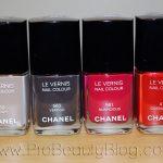 Swatch: Chanel Le Vernis Nail Colours in Frenzy, Vertigo, Suspicious, and Coromandel